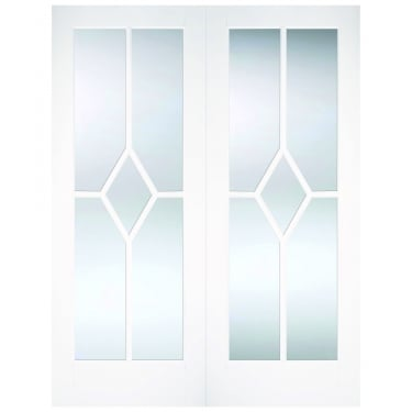 Internal White Primed Reims Diamond Pair Doors with Clear Bevelled Glass