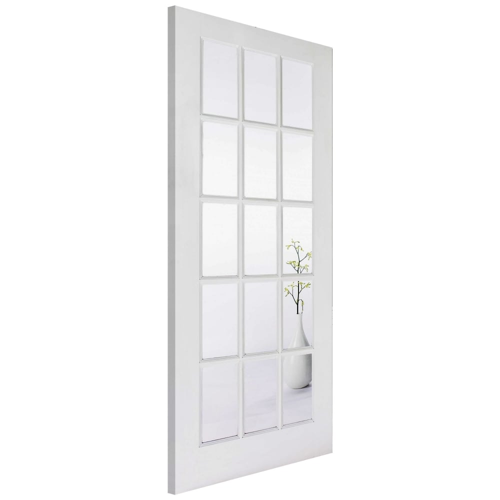 Lpd sa15 white primed clear glass internal door leader doors - White doors with glass internal ...