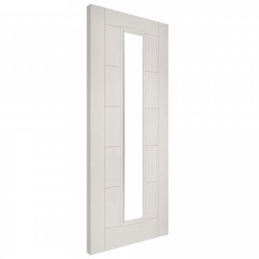 Internal White Primed Seville 1L FD30 Fire Door with Deanta Fire Glass (SEVCGF/DWHP)