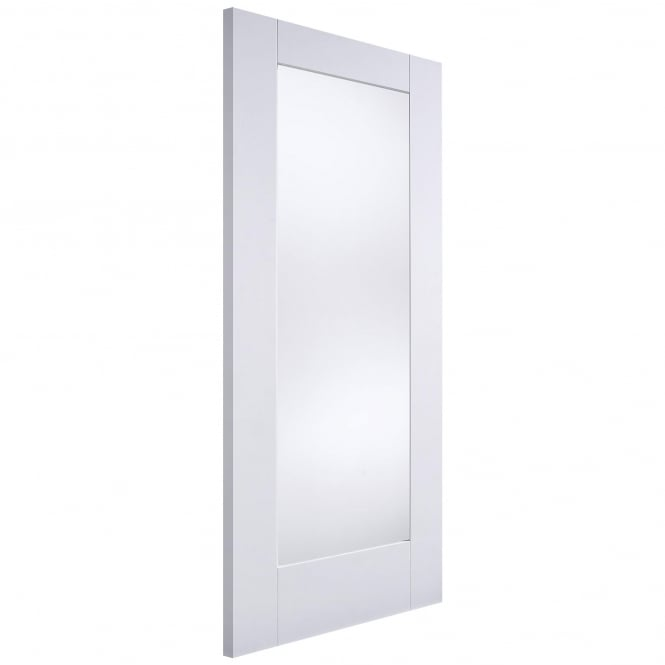 LPD Doors Internal White Primed Shaker 1 Panel Door With Clear Glass