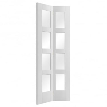 Internal White Primed Shaker 8L Bi-Fold Door with Clear Glass
