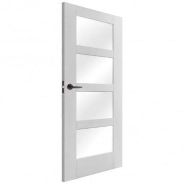 Internal White Primed Shaker 4 Light Door with Clear Glass