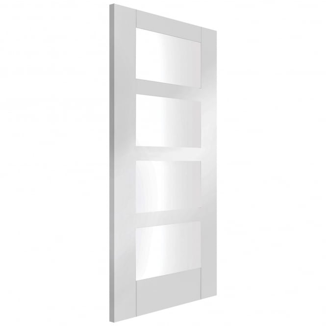 XL Joinery Internal White Primed Shaker 4 Light Fire Door with Clear Glass