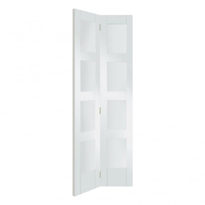 XL Joinery Internal White Primed Shaker 4 Panel Bi-Fold Door with Clear Glass