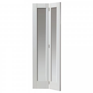 Internal White Primed Shaker Tobago 2L Bi-Fold Solid Door with Clear Glass (CTOBBF)