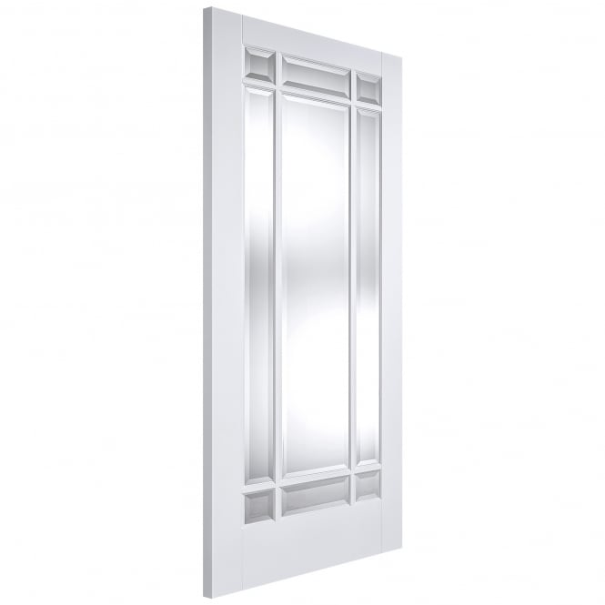 LPD Doors Internal White Primed Solid Core Manhattan Door with Clear Bevelled Glass