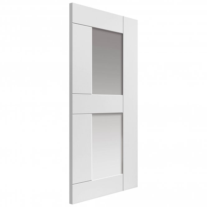 JB Kind Internal White Primed Symmetry Eccentro Door With Clear Glass