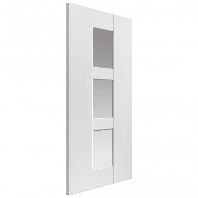 JB Kind Internal White Primed Symmetry Geo Door With Clear Glass