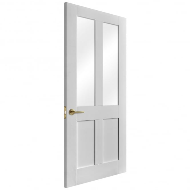 Liberty Doors Internal White Primed Victorian Door with Clear Glass