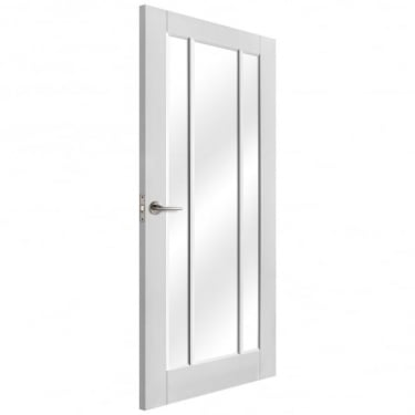 Internal White Primed Worcester Door with Clear Glass