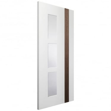 Internal White & Walnut Fully Finished Fusion Praiano 3L Door with Clear Glass (PFGWWPRA)
