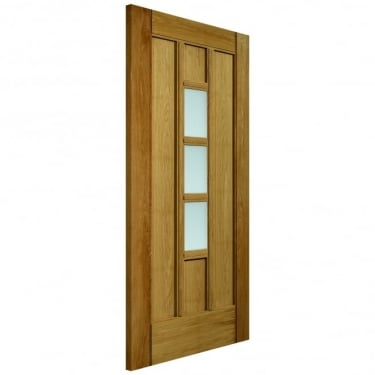 External Un-Finished Oak Therm-L Coniston Door With Obscure Glass