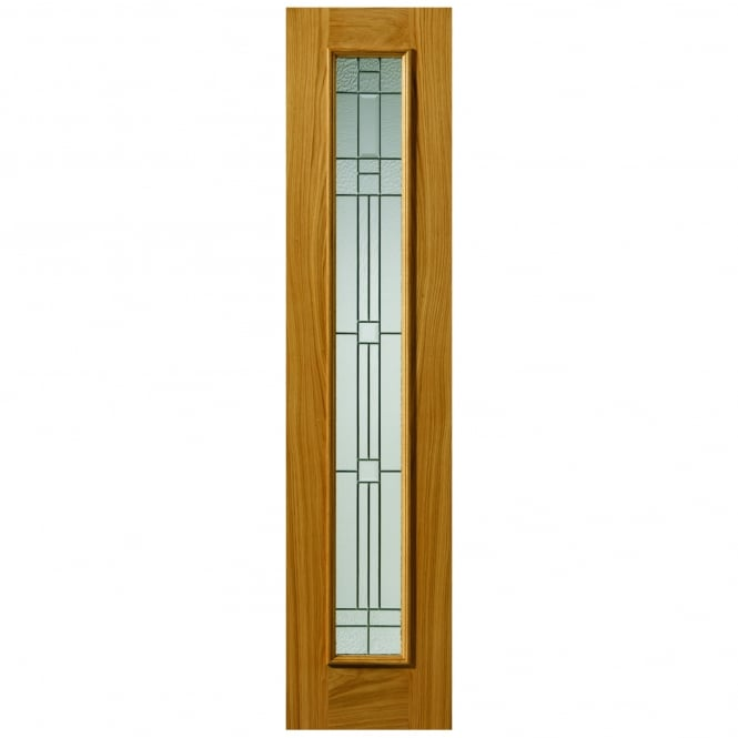 JB Kind Doors External Un-Finished Oak Therm-L Piedmont Sidelight With Feature Glass