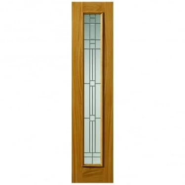 External Un-Finished Oak Therm-L Piedmont Sidelight With Feature Glass