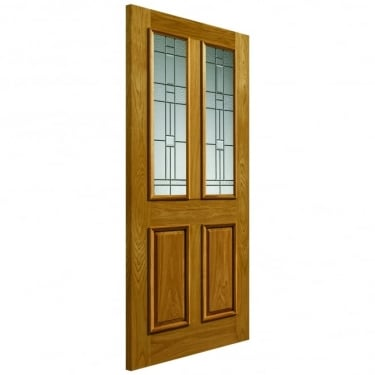 External Un-Finished Oak Therm-L Rioja Door With Feature Glass