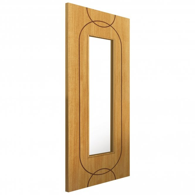 JB Kind Doors Internal Fully Finished Elements Oak Agua Door With Clear Glass