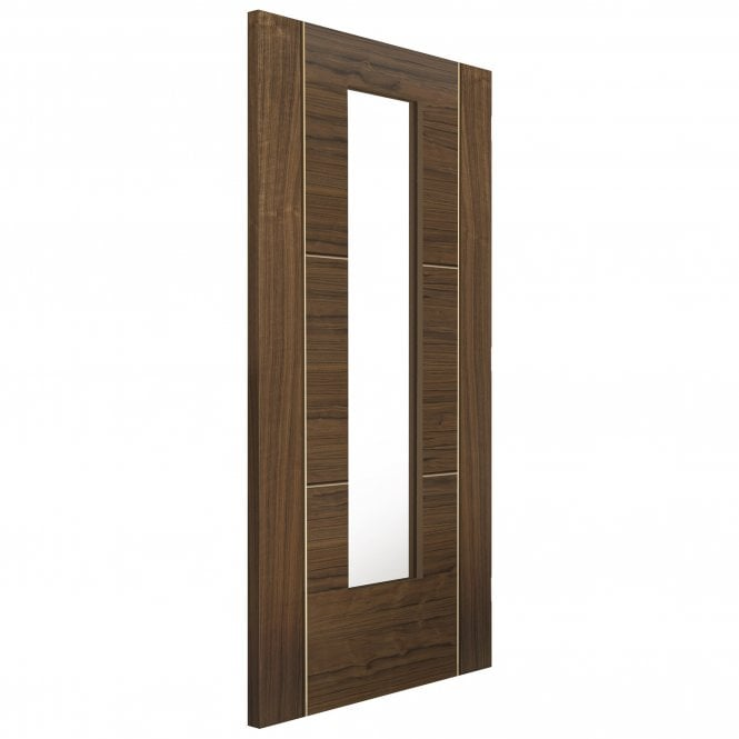 JB Kind Doors Internal Fully Finished Flush Walnut Mistral Door With Clear Glass