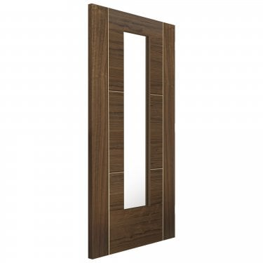 Internal Fully Finished Flush Walnut Mistral Door With Clear Glass
