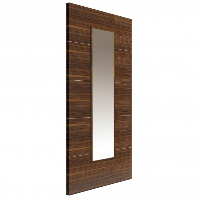 JB Kind Doors Internal Fully Finished Flush Walnut Parisienne Door With Clear Glass
