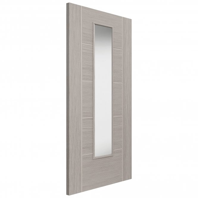 JB Kind Doors Internal Fully Finished Grey Lava Laminate Door With Clear Glass