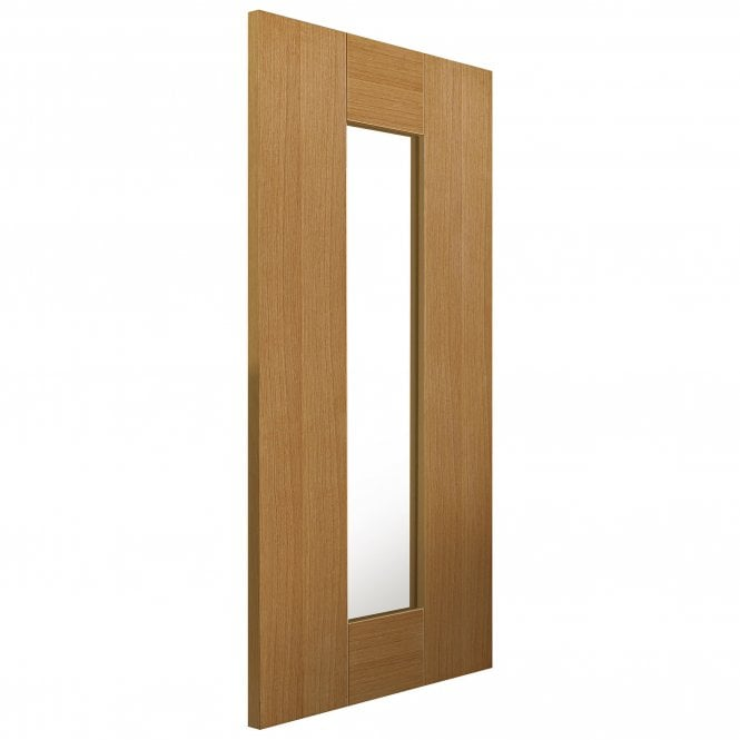 JB Kind Doors Internal Fully Finished Oak Symmetry Axis Door With Clear Glass