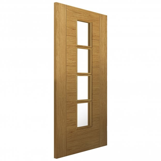 JB Kind Doors Internal Fully Finished River Modern Oak Bela Door With Clear Glass