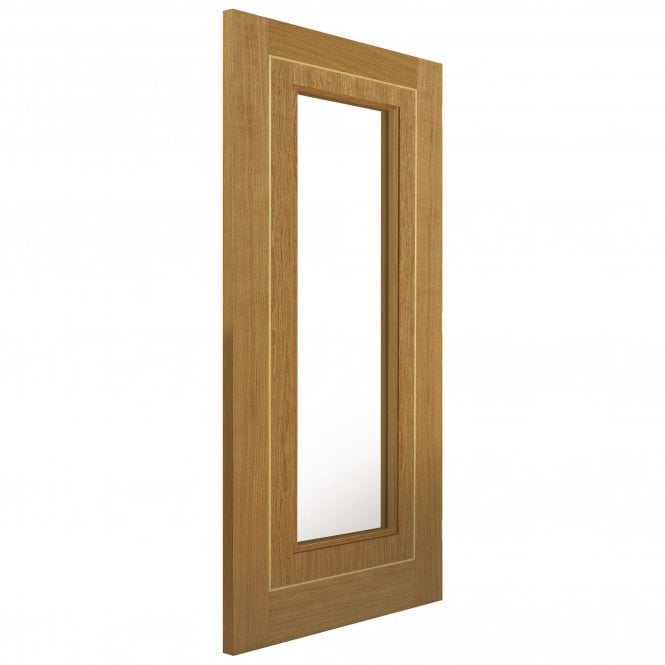 JB Kind Doors Internal Fully Finished Roma Oak Minerva Door With Clear Glass