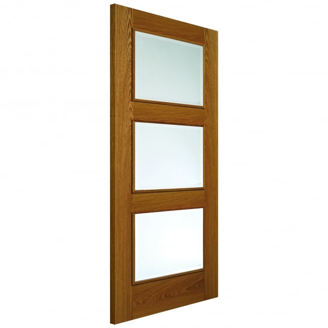 JB Kind Doors Internal Fully Finished Royale Modern Oak R-03-3V Door With Clear Glass
