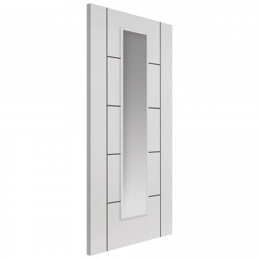 JB Kind Doors Internal Fully Finished White Eco Linea Door With Clear Glass