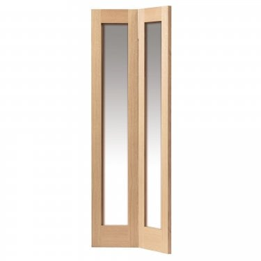 Internal Un-Finished Montana Oak Fuji Bi-Fold Door With Clear Glass