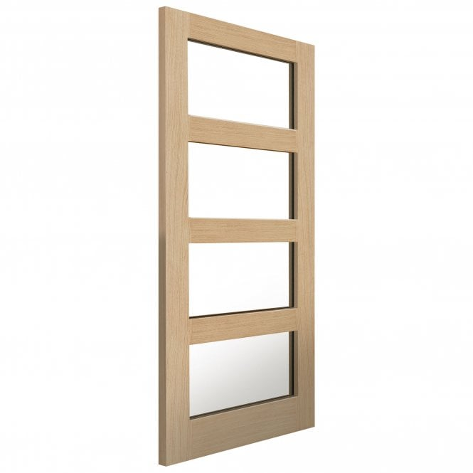 JB Kind Doors Internal Un-Finished Montana Oak Nevis Door With Clear Glass