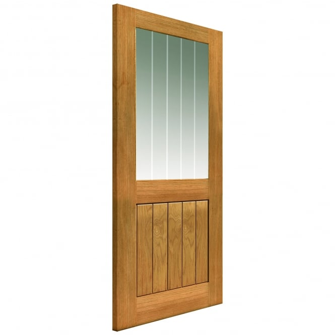 JB Kind Doors Internal Un-Finished River Cottage Oak Thames II 1L Door With Clear Etched Glass