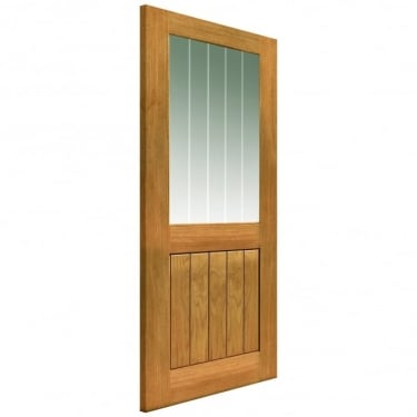 Internal Un-Finished River Cottage Oak Thames II 1L Door With Clear Etched Glass