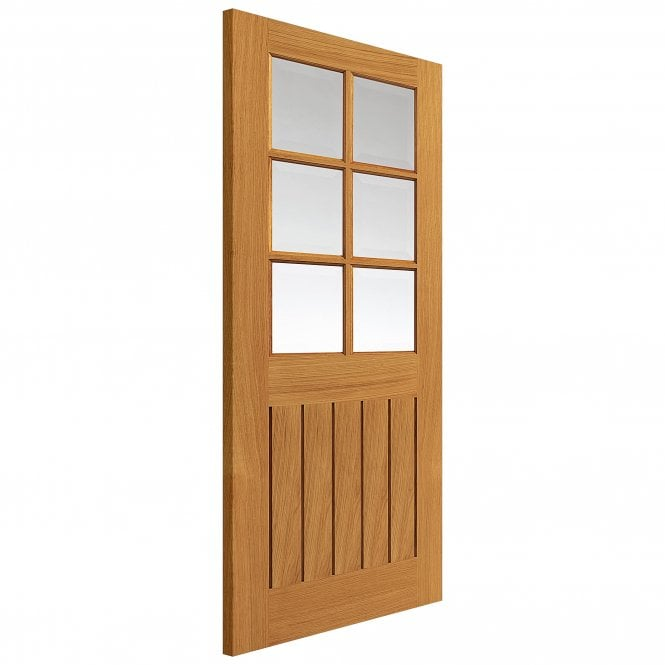 JB Kind Doors Internal Un-Finished River Cottage Oak Tutbury Door With Clear Glass