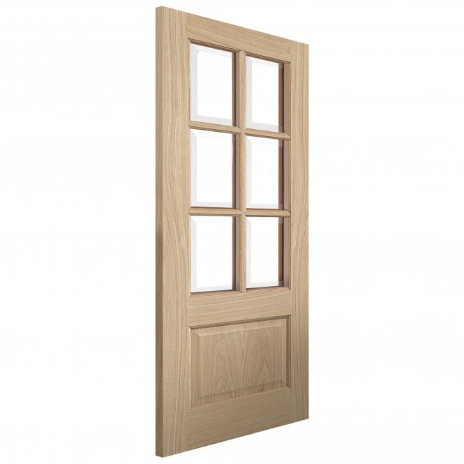 JB Kind Doors Internal Un-Finished River Traditional Oak Dove Door With Clear Glass