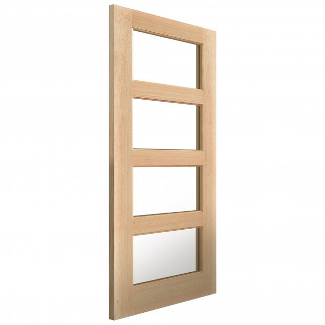 JB Kind Doors Internal Un-Finished River Traditional Oak Humber Door With Clear Glass
