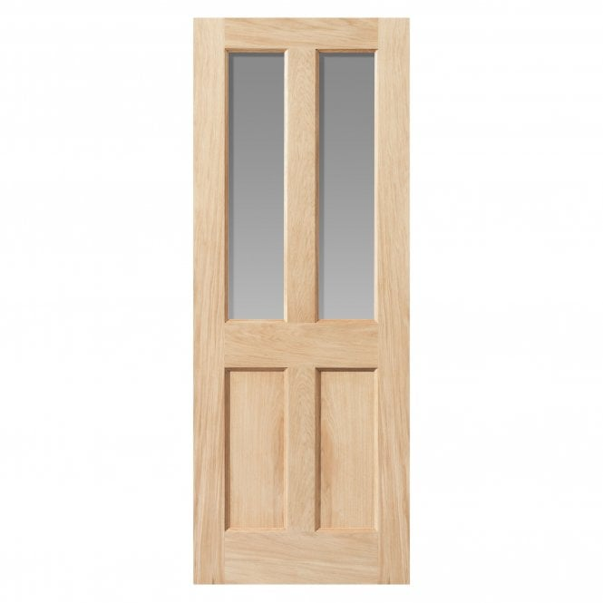 JB Kind Doors Internal Un-Finished River Traditional Oak Severn Door With Clear Glass