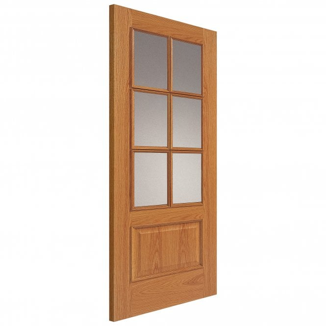 JB Kind Doors Internal Un-Finished Royale Traditional Oak 12-6Vmn Door With Clear Glass