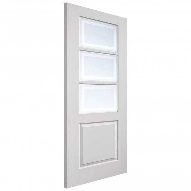 JB Kind Doors Internal White Moulded Andorra Door With Etched Glass