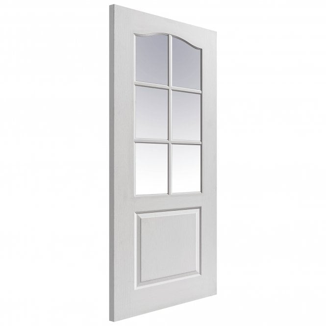 JB Kind Doors Internal White Moulded Classique Door With Clear Glass