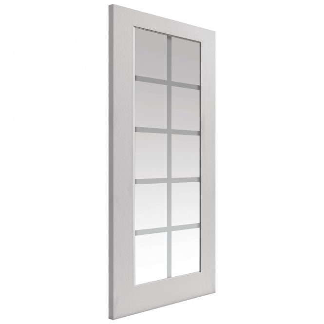 JB Kind Doors Internal White Moulded Decca Door With Clear Etched Glass