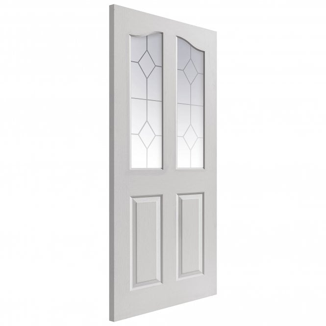 JB Kind Doors Internal White Moulded Edwardian Door With Etched Glass