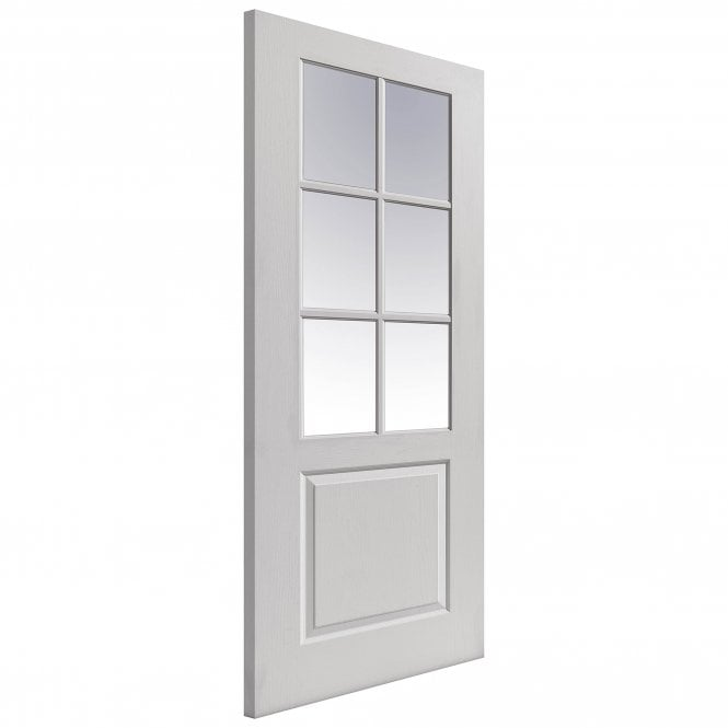 JB Kind Doors Internal White Moulded Faro Door With Clear Glass