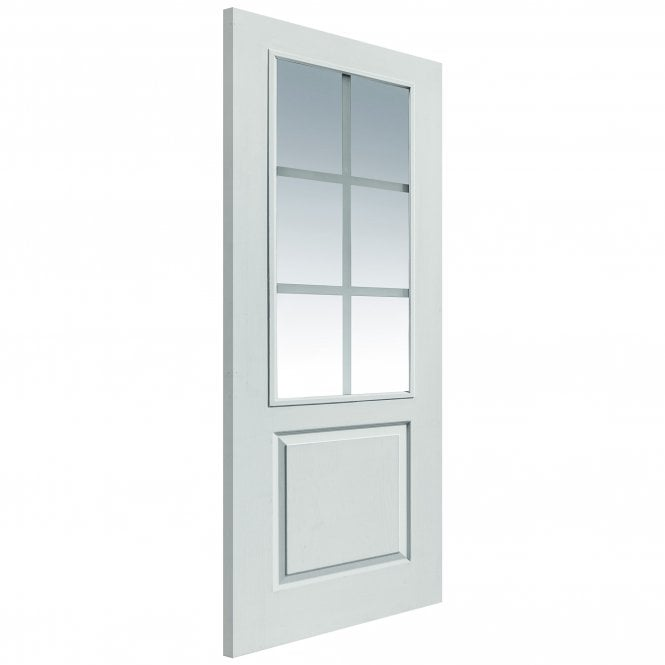JB Kind Doors Internal White Moulded Faro FD30 Fire Door With Pyrodur Clear Etched Glass