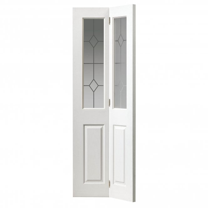 Internal White Moulded Grained Canterbury Bi-Fold Door With Etched Glass