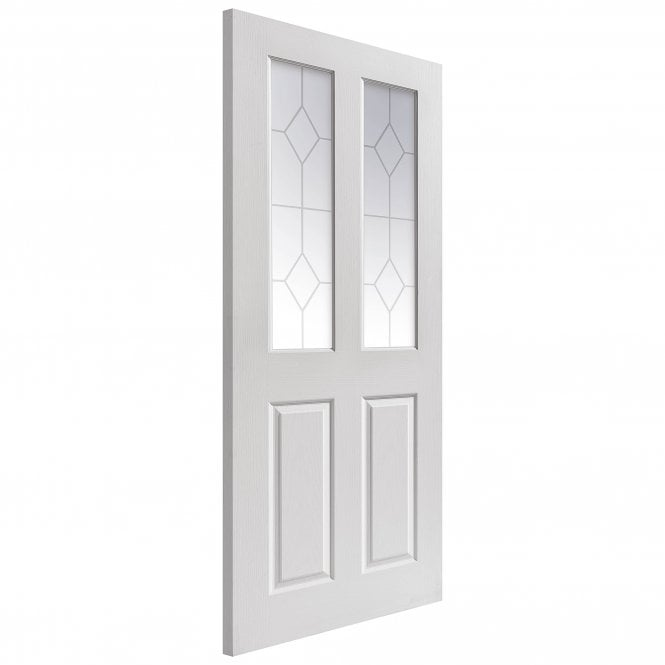 JB Kind Doors Internal White Moulded Grained Canterbury Door With Etched Glass