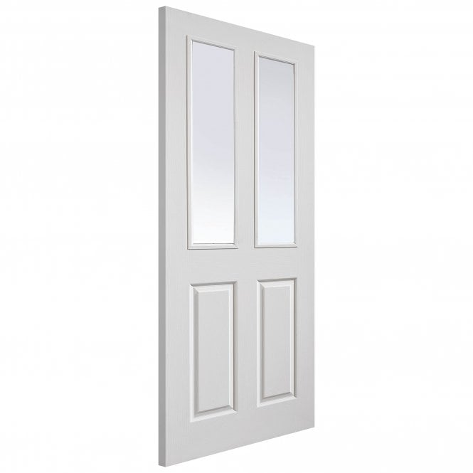 JB Kind Doors Internal White Moulded Grained Canterbury FD30 Fire Door With Pyran Clear Glass