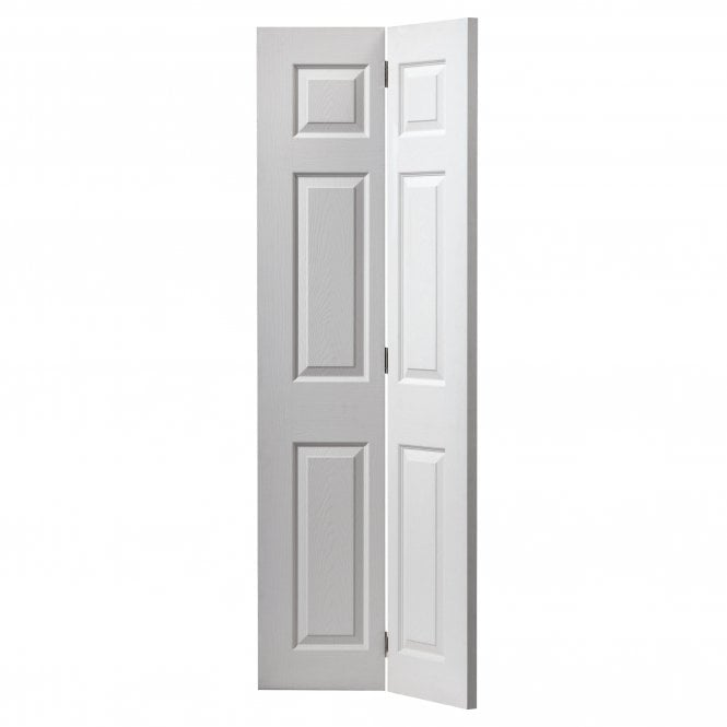JB Kind Doors Internal White Moulded Grained Colonist Bi-Fold Door