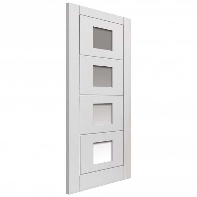 JB Kind Doors Internal White Moulded Quattro Door With Clear Glass