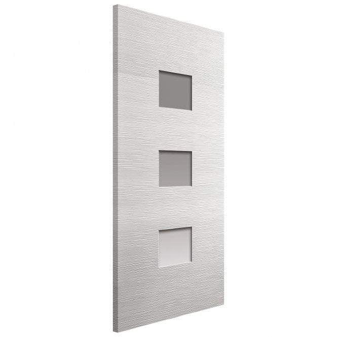 JB Kind Doors Internal White Moulded Ripple Door With Clear Glass
